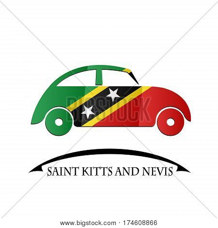 car icon made from the flag of Saint Kitts and Nevis