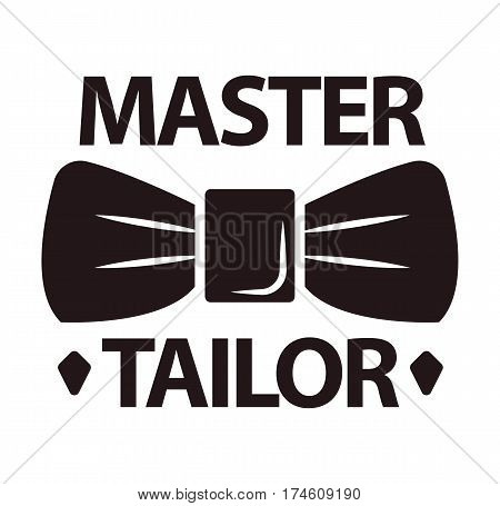 Master tailor logotype in flat design with man butterfly tie isolated on white. Tailor's template logo badge with brown inscription and decorative attribute for male suits in butterfly shape