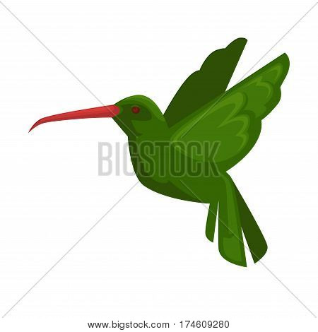 Green hummingbird icon in flying position isolated on white. Close up vector illustration of bird fly with straight wings, long beak and green feathers. Hummining flying animal in flat style.
