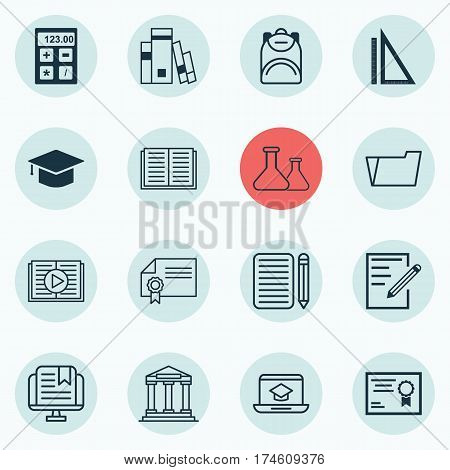 Set Of 16 Education Icons. Includes Document Case, Opened Book, E-Study And Other Symbols. Beautiful Design Elements.