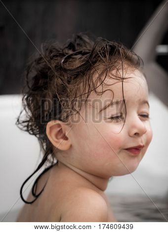 Little Cute Girl In The Bathroom