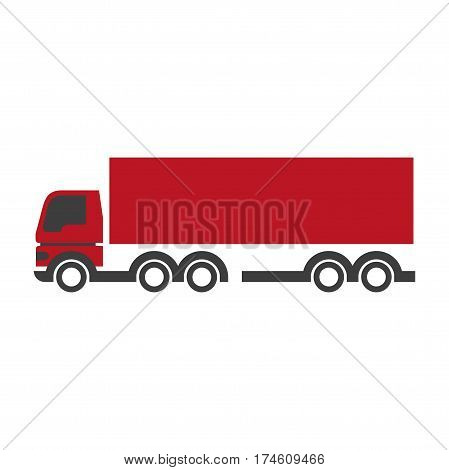 Red lorry icon in flat design isolated on white. Close up vector illustration of fast mean of transportation with ten wheels and long red part for things delivering. Ruddy track sign isolated