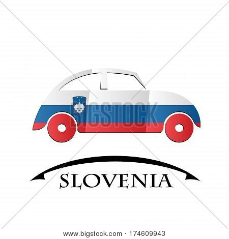 car icon made from the flag of Slovenia