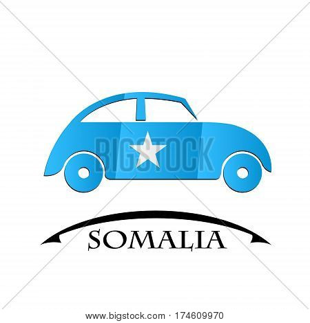 car icon made from the flag of Somalia