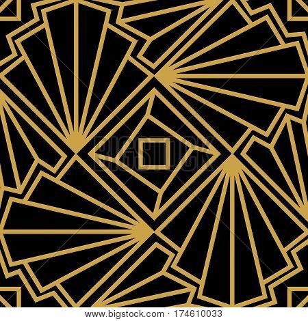 Abstract vector seamless Art Deco pattern with stylized shell. Golden ornament on black background.