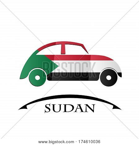 car icon made from the flag of Sudan