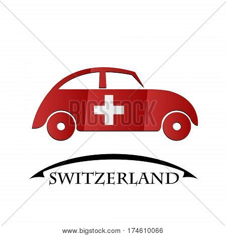 car icon made from the flag of Switzerland
