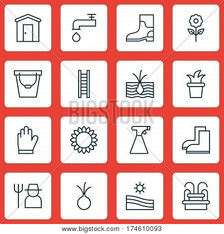 Set Of 16 Plant Icons. Includes Meadow, Spigot, Stairway And Other Symbols. Beautiful Design Elements.