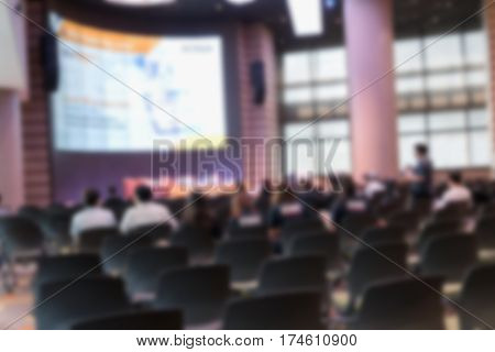 Abstract blurred photo of conference hall or seminar room Can be used as background for its ads.