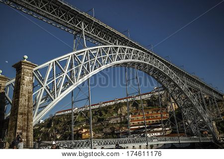 View at Luis I bridge from below, Douro river, Porto, Portugal