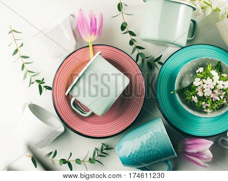 Spring Crockery Concept With Tulips Flowers Pastel Color