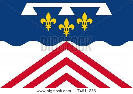 Flag of Eure-et-Loir is a French department named after the Eure and Loir rivers. Vector illustration