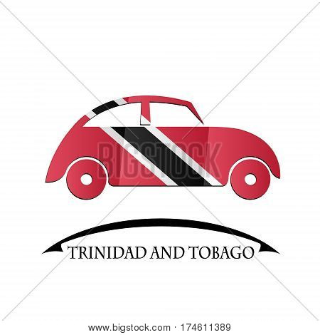 car icon made from the flag of Trinidad and Tobago