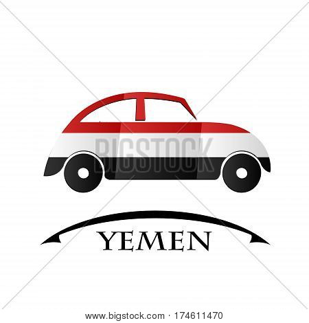 car icon made from the flag of Yemen