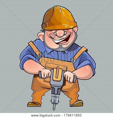 cartoon happy man in helmet and working clothes with a pneumatic compressor