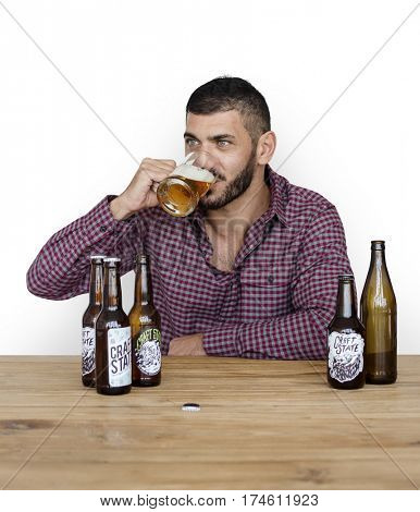 Middle Eastern Man Beer Drinks Alocohol Studio Portrait