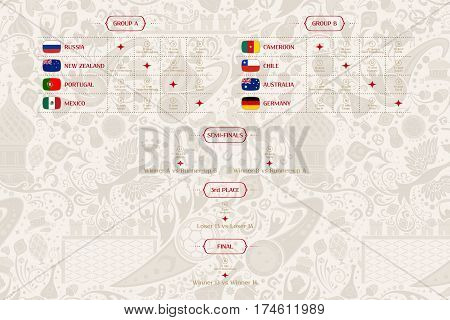 Match schedule template for web print football results table flags of countries participating to the international soccer tournament in Russia vector illustration