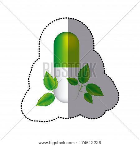 sticker green pill medical in capsule shape with decorative leaves vector illustration