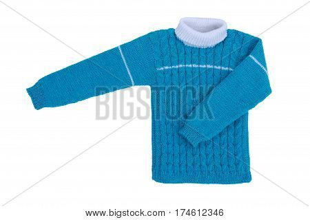 Sweater knit children isolate on white background. Warm blue knitted sweater with a pattern.