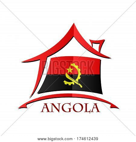 House icon made from the flag of Angola