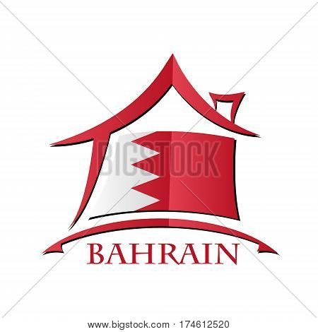 House icon made from the flag of Bahrain