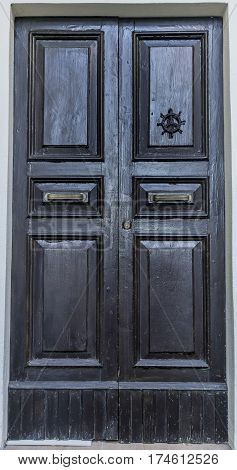 Old retro vintage exterior door in old building