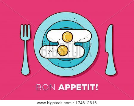 The breakfast plate vector illustration isolated on background. Boilled Eggs or omelette on the plate. Classical popular european meal. Flat line design. Great colores. Advertisement Card.