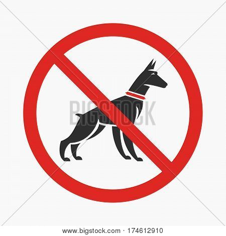 Logo or information plate design for no pee no dog walking plates with doberman silhouette. Vector flat design.