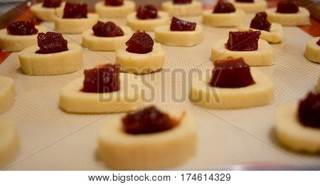 Quince cookies ready to bake in the oven