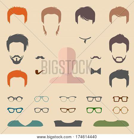 Big vector set of dress up constructor with different men glasses, beard, mustache, wear in trendy flat style. Male faces icon creator.