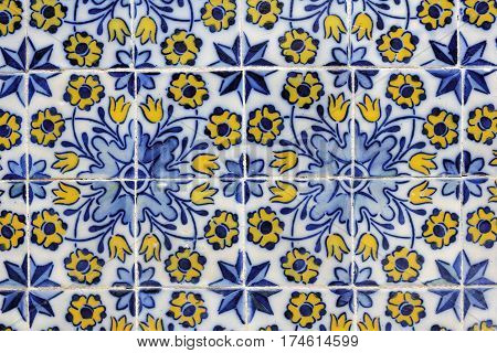 Azulejos baroque painted tin-glazed ceramic tile-work in Funchal