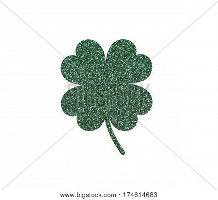 Clover with four leaves Glittery green color