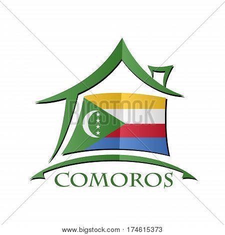 House icon made from the flag of Comoros