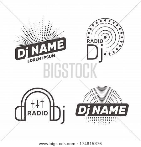 DJ vector label or logo template. Radio Dj icon.