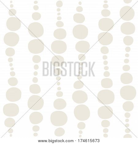 Seamless geometric pattern. Graphic design element for web sites, stationary printables, fabric, scrapbooking etc. Waves and circles in beige and white. Vector illustration.