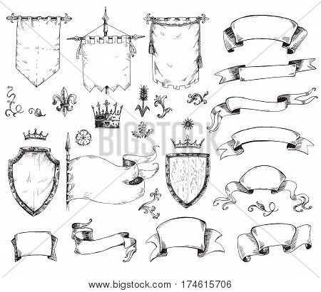 Vector hand drawn collection of heraldic templates: shield, flag, standard, ribbons, scrolls, crown, plants. Sketchy engraving style Isolated medieval set