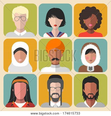 Vector set of different nationality man and woman icons in trendy flat style