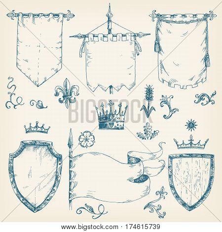 Vector hand drawn collection of heraldic templates: shield, flag, standard, crown, plants. Sketchy engraving style. Isolated medieval set