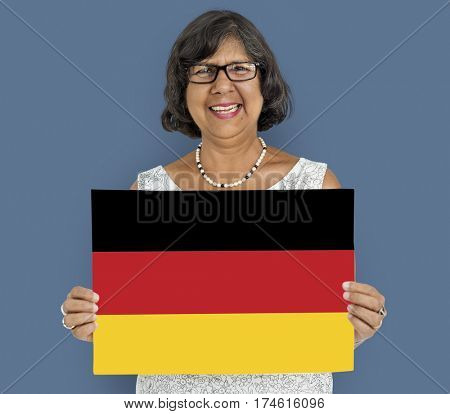 Woman Hands Hold Germany Deutschland Flag Patriotism