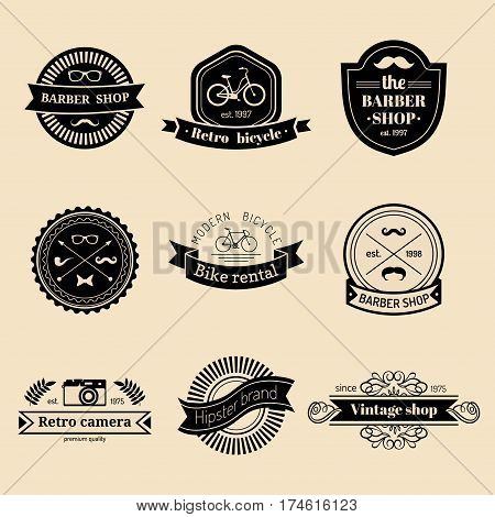 Vector set of vintage hipster logo. Retro icons collection