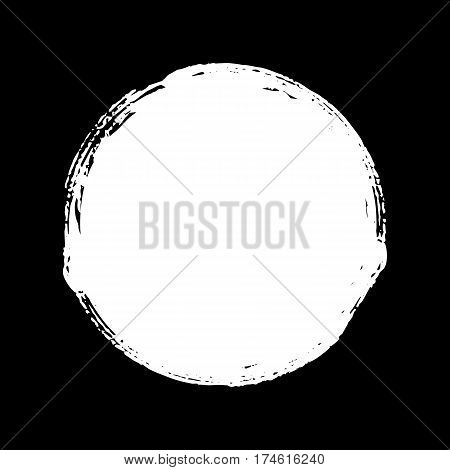 Hand painted chalk blob. White round button. Hand drawn grunge ink circle. Graphic design element for web, corporate identity, cards, prints etc. Vector illustration