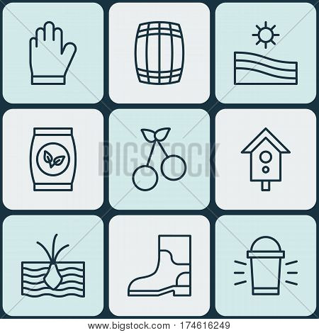 Set Of 9 Agriculture Icons. Includes Sweet Berry, Meadow, Birdhouse And Other Symbols. Beautiful Design Elements.
