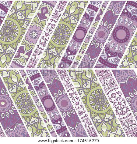 Colorful floral seamless pattern from beveled rectangles with mandala in patchwork boho chic style, in portuguese and moroccan motif