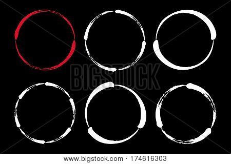 Set of hand painted ink circles. Graphic design elements for web sites, stationary printables, corporate identity, scrapbooking, posters etc. Vector illustration.