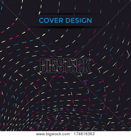 Cover design with colored wavy lines. Vector illustration