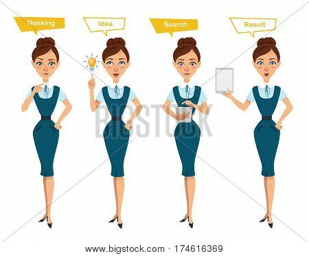 Set of business woman characters poses. Woman thinks. Woman has idea, searches something on tablet and shows result on tablet. Illustration shows search process