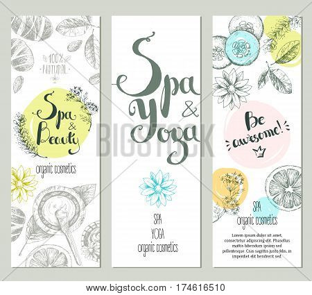 Vector vertical ready design template for brochures, booklets, posters, banners for organic cosmetic shop, spa center or relax center. Sketchy engraving style, pastel natural colors.