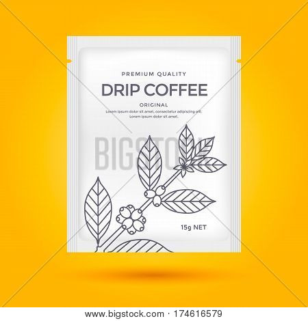 Packaging design for Drip coffee. Vector template package. Line style illustration Coffee branch.