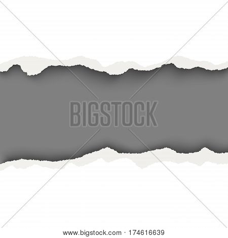 Vector snatched horizontal lane with torn edges in sheet of white paper. Dark gray background of the resulting window.Template paper design.