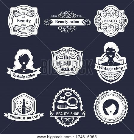 Vector set of hipster woman logo of beauty salon or vintage shop. Retro icons collection in flat style